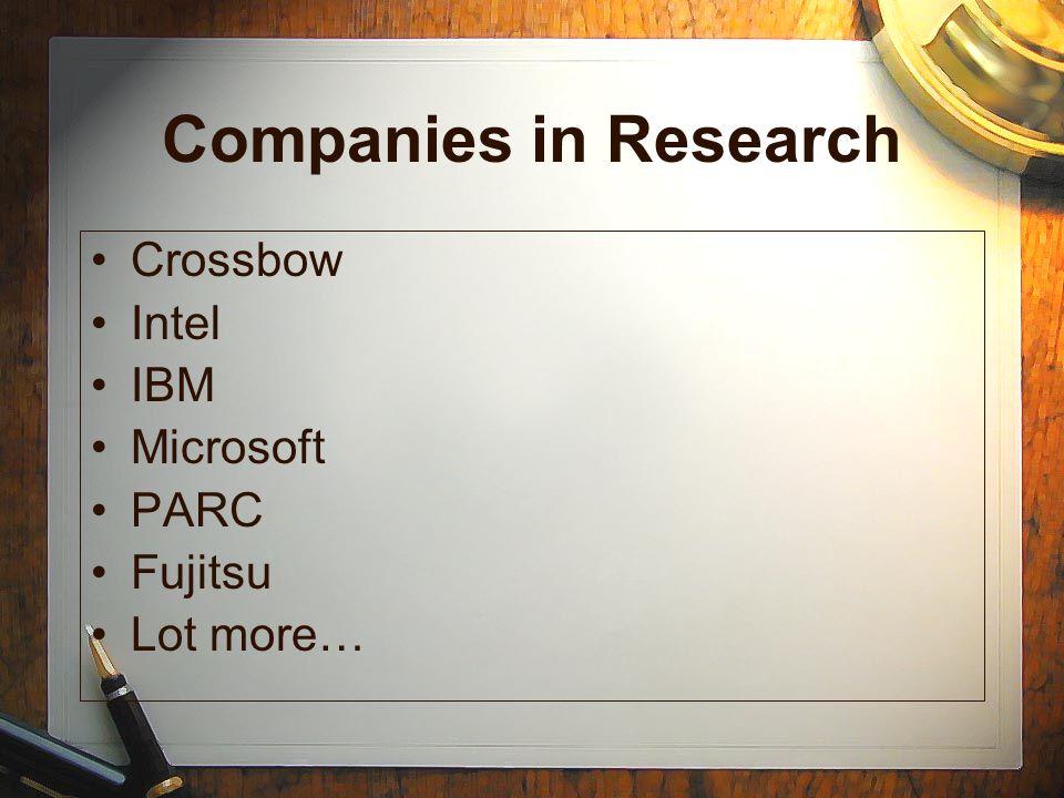 Companies in Research Crossbow Intel IBM Microsoft PARC Fujitsu