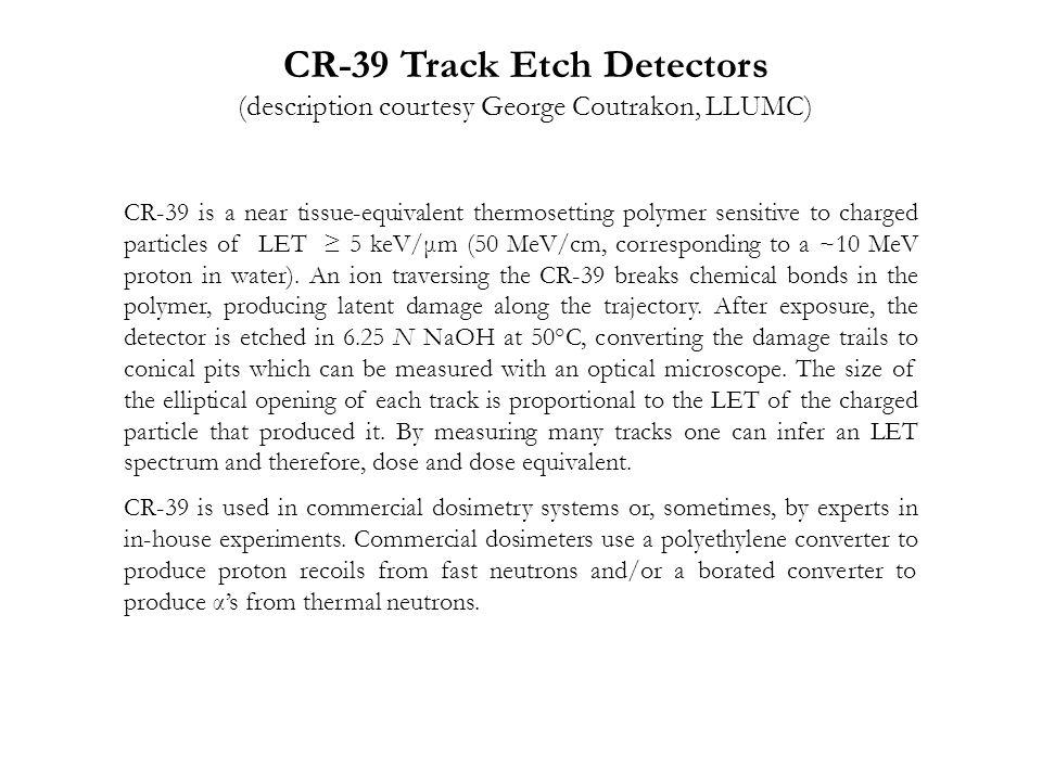 CR-39 Track Etch Detectors
