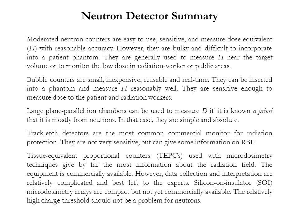Neutron Detector Summary