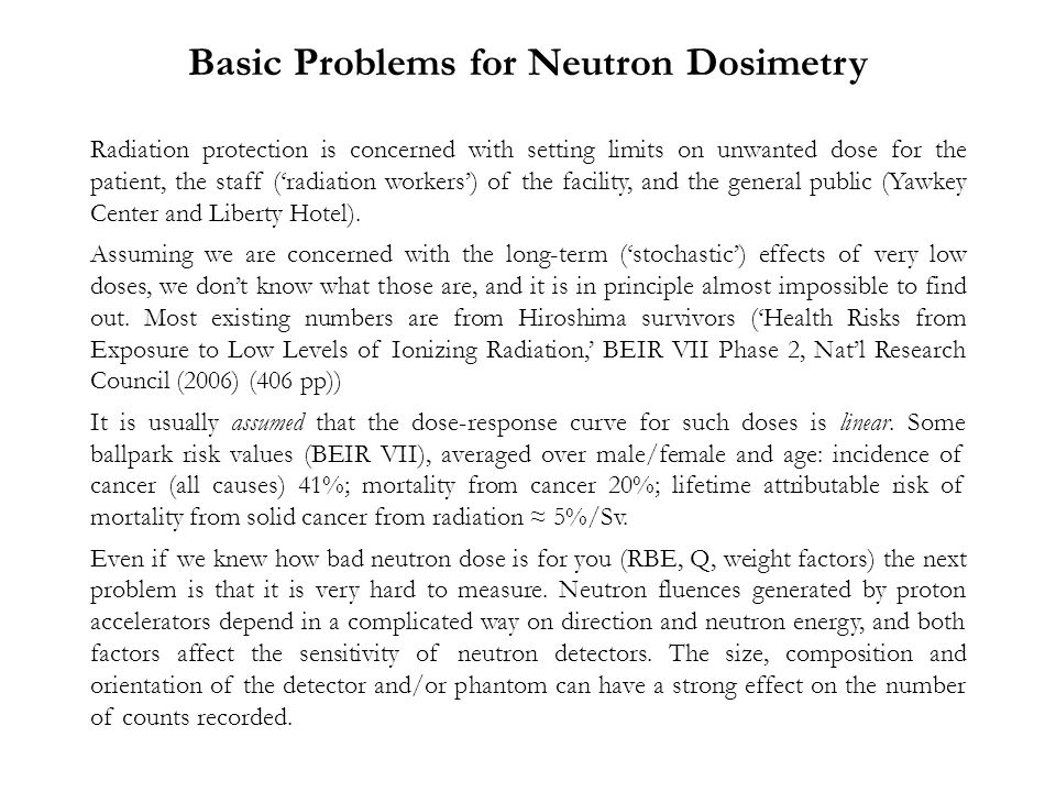 Basic Problems for Neutron Dosimetry