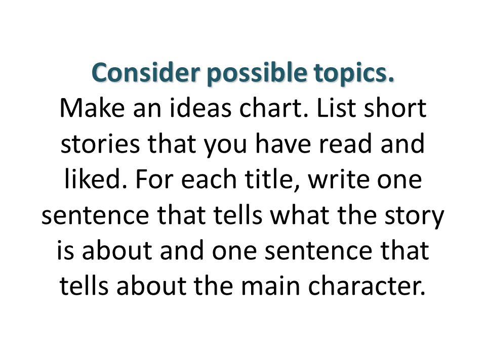 Consider possible topics. Make an ideas chart