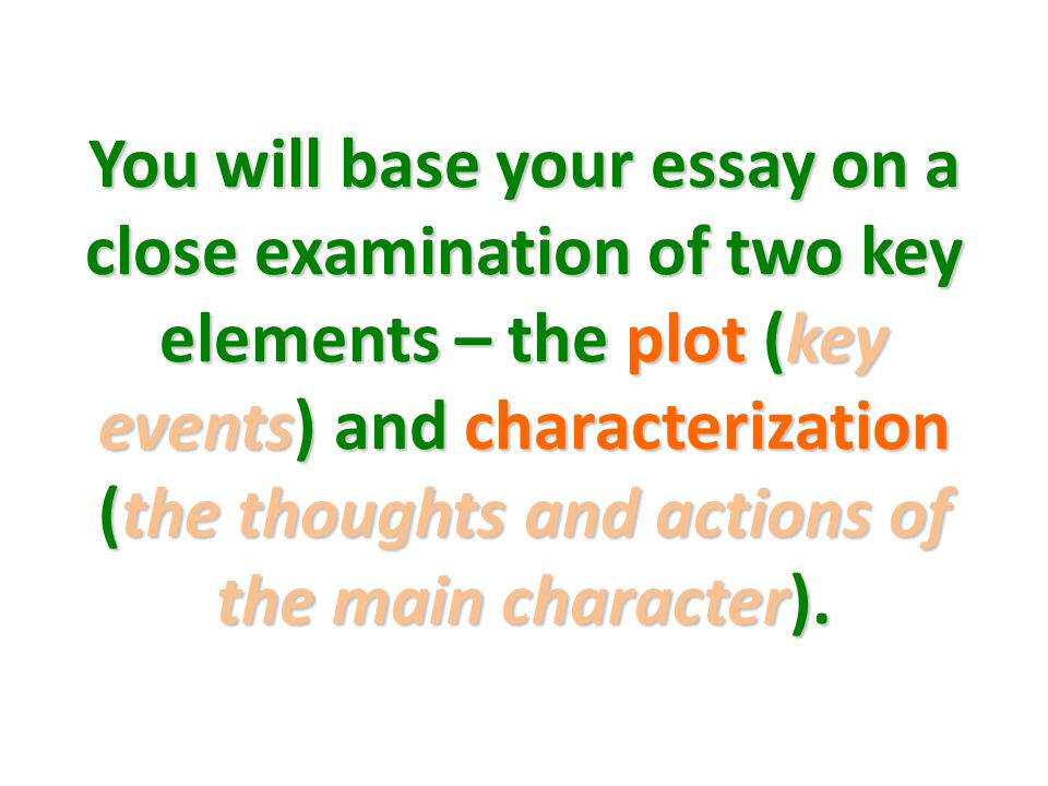 You will base your essay on a close examination of two key elements – the plot (key events) and characterization (the thoughts and actions of the main character).