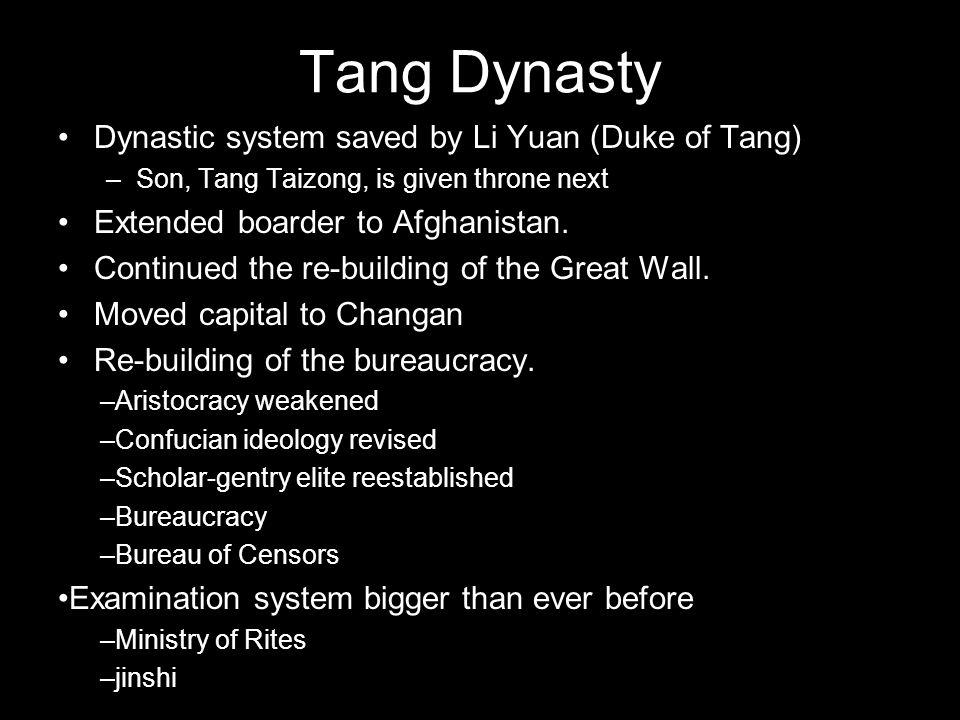 Tang Dynasty Dynastic system saved by Li Yuan (Duke of Tang)