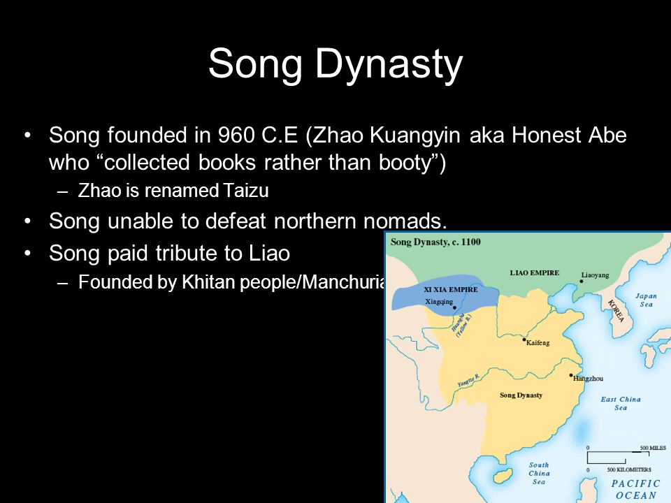 Song Dynasty Song founded in 960 C.E (Zhao Kuangyin aka Honest Abe who collected books rather than booty )