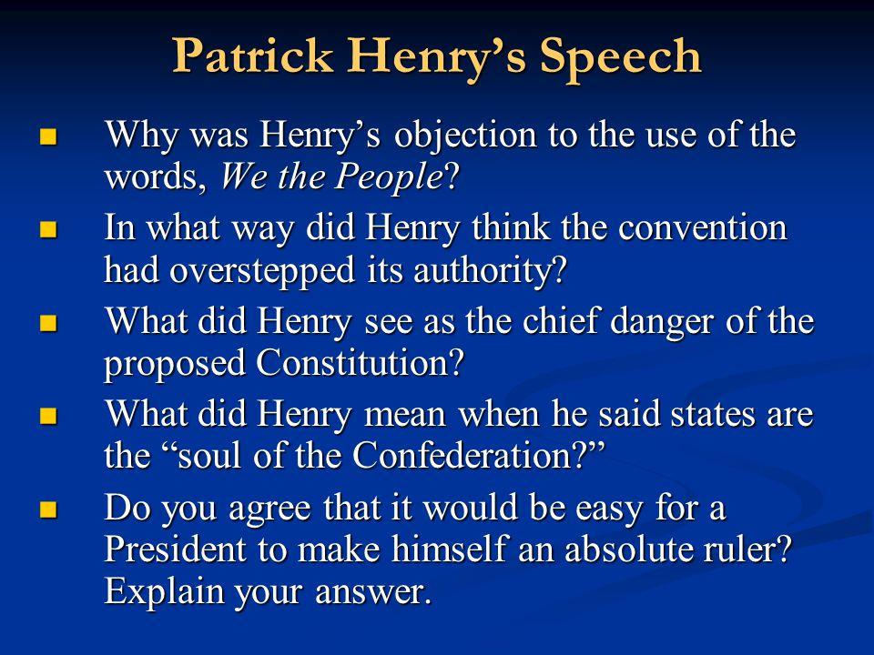 Patrick Henry's Speech
