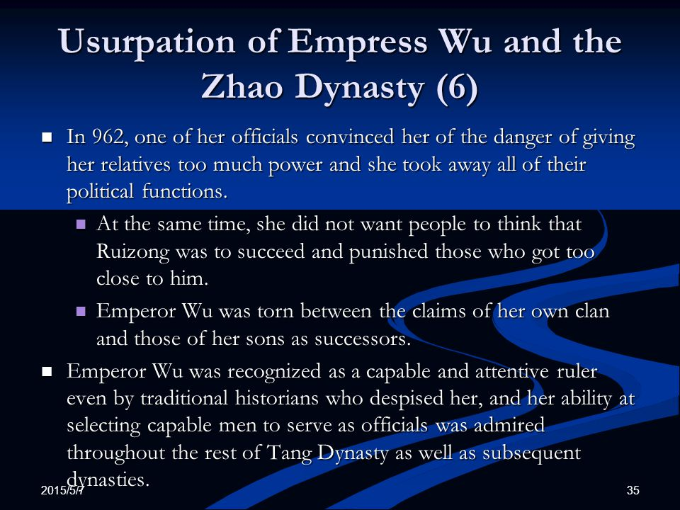 Usurpation of Empress Wu and the Zhao Dynasty (6)
