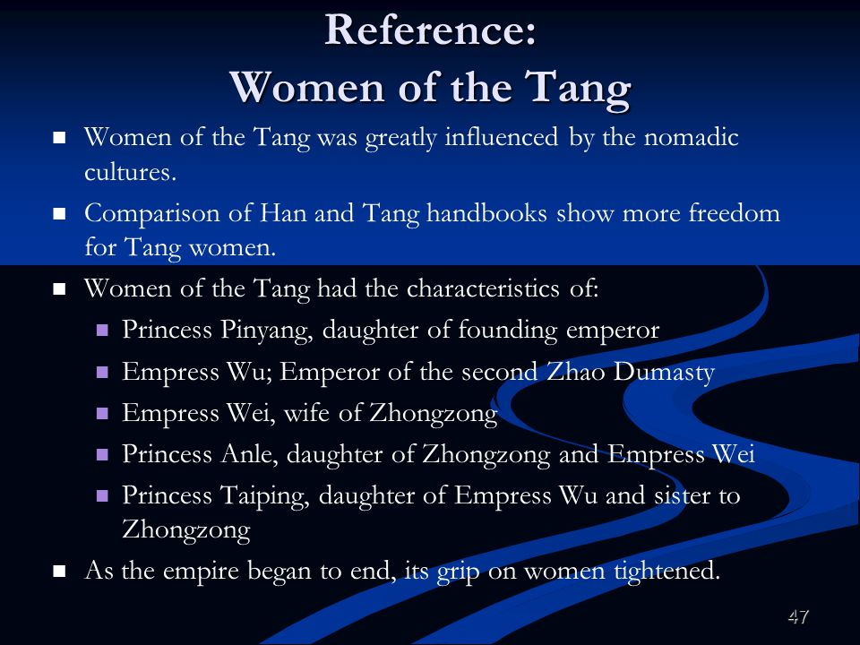 Reference: Women of the Tang