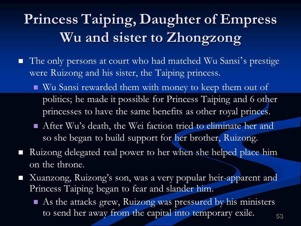 Princess Taiping, Daughter of Empress Wu and sister to Zhongzong
