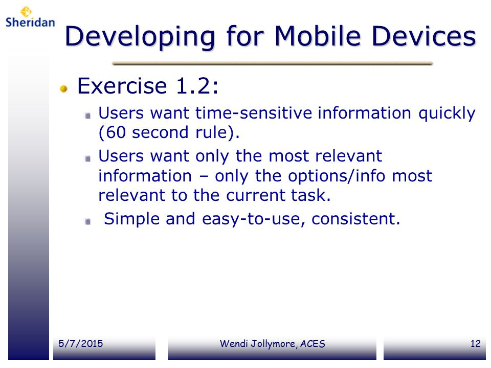 Developing for Mobile Devices