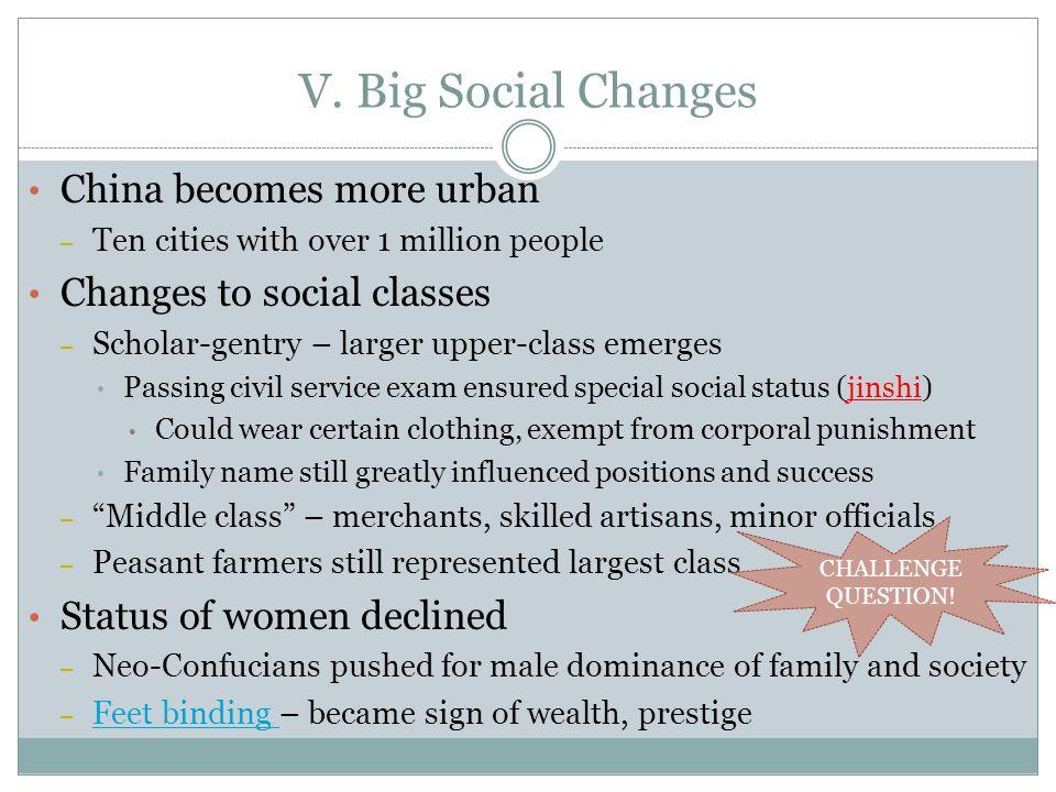 V. Big Social Changes China becomes more urban