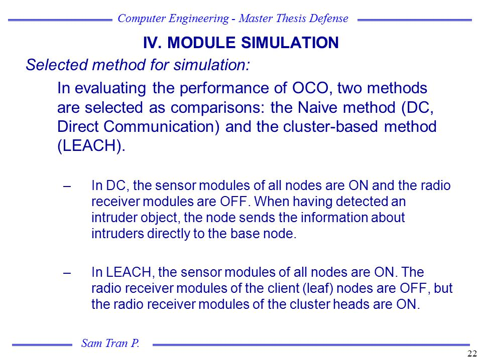 Selected method for simulation: