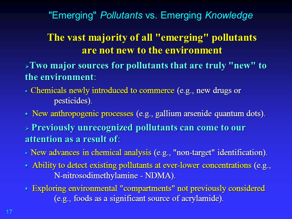 Emerging Pollutants vs. Emerging Knowledge