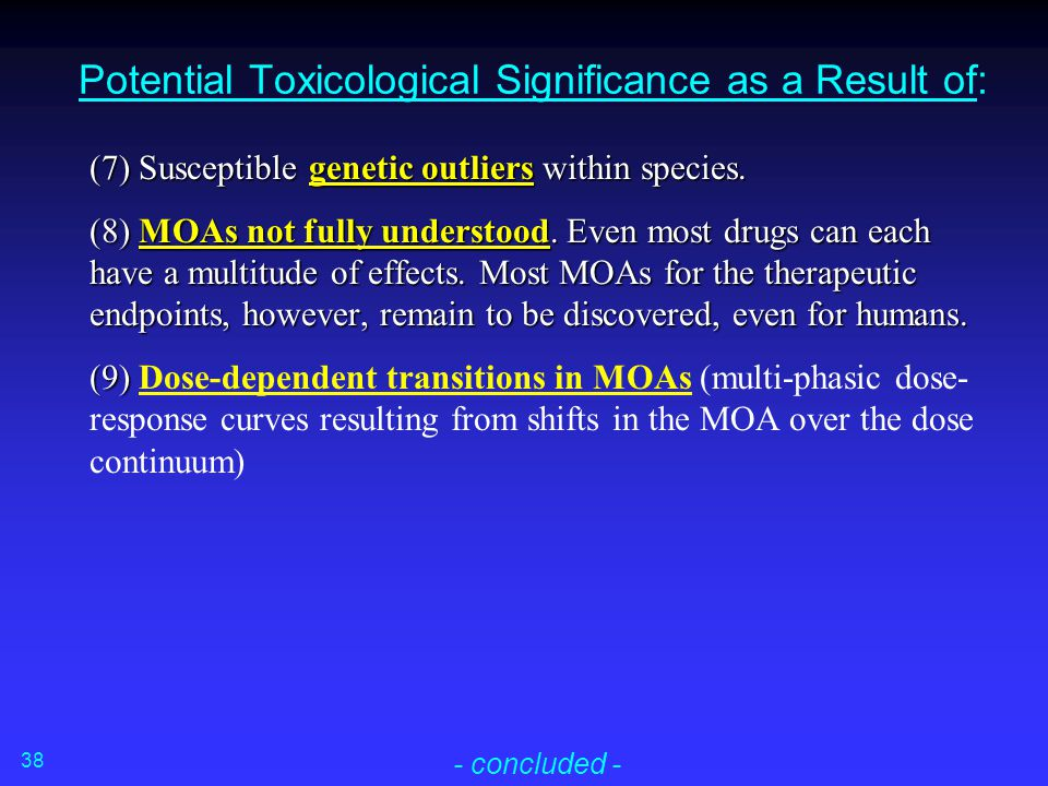 Potential Toxicological Significance as a Result of: