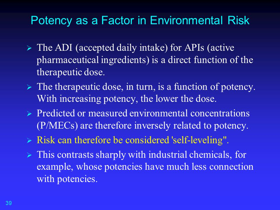 Potency as a Factor in Environmental Risk