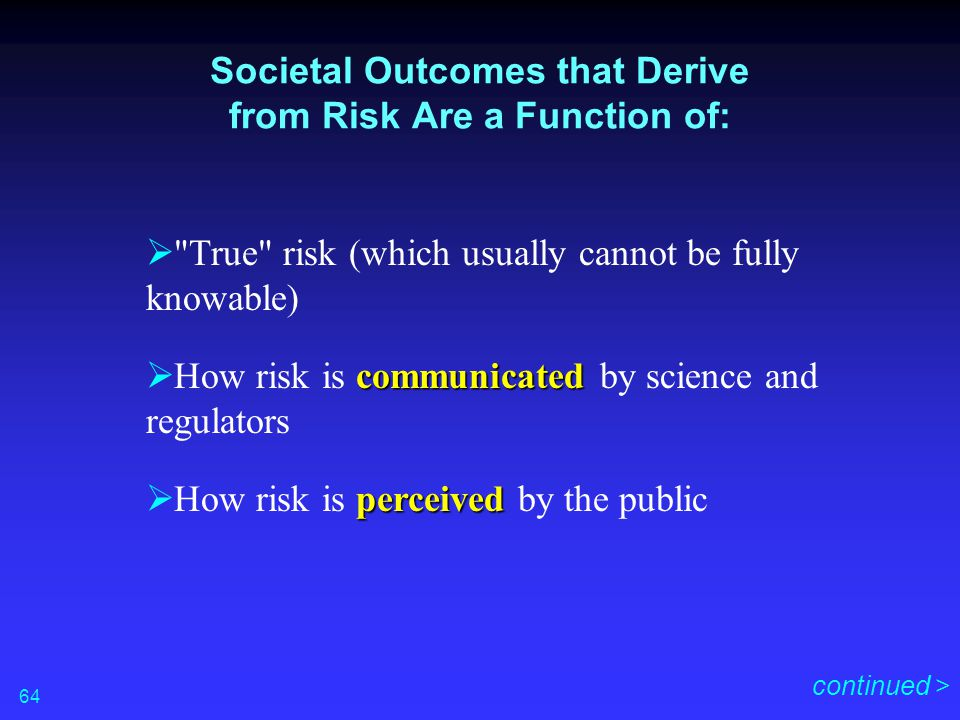 Societal Outcomes that Derive from Risk Are a Function of: