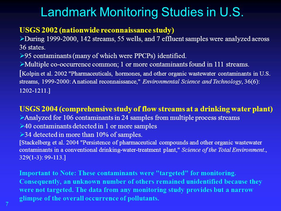 Landmark Monitoring Studies in U.S.