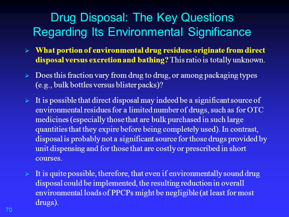 Drug Disposal: The Key Questions Regarding Its Environmental Significance