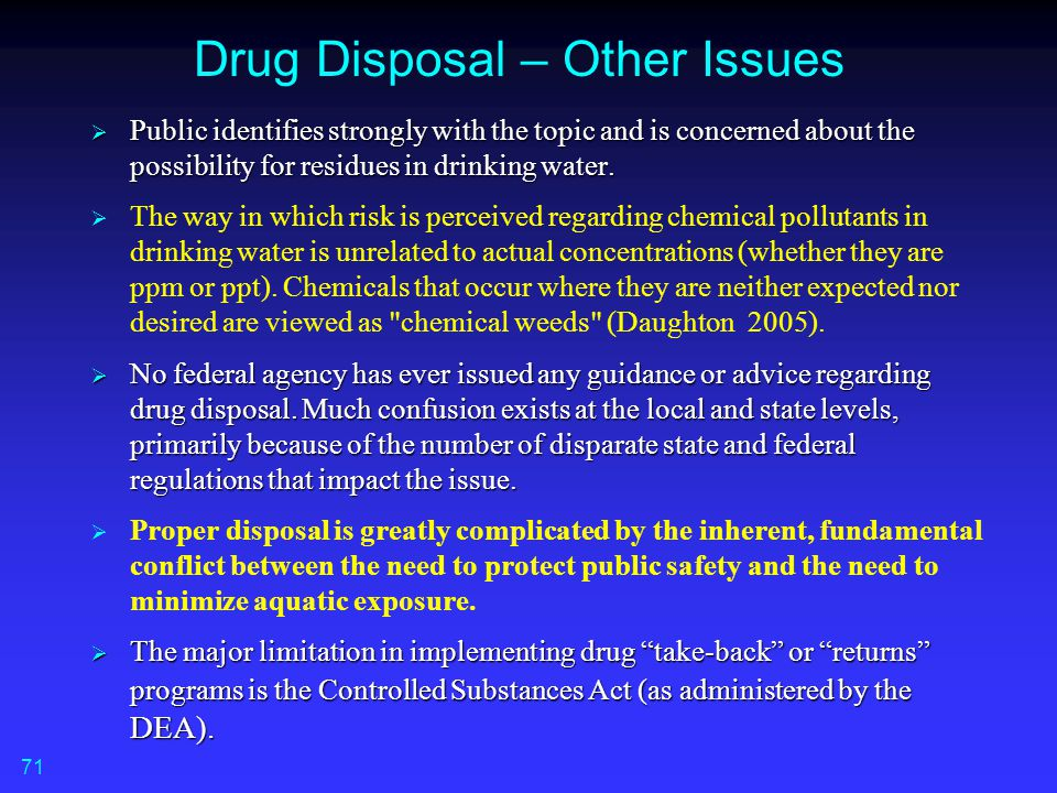 Drug Disposal – Other Issues