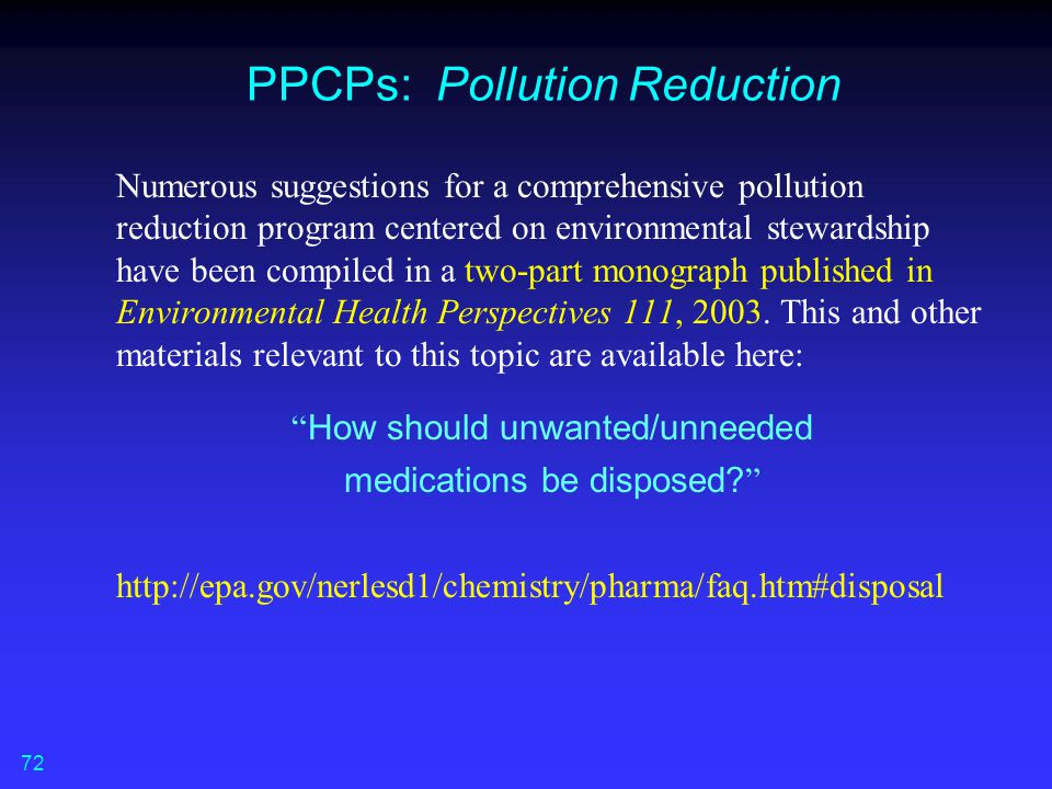 PPCPs: Pollution Reduction