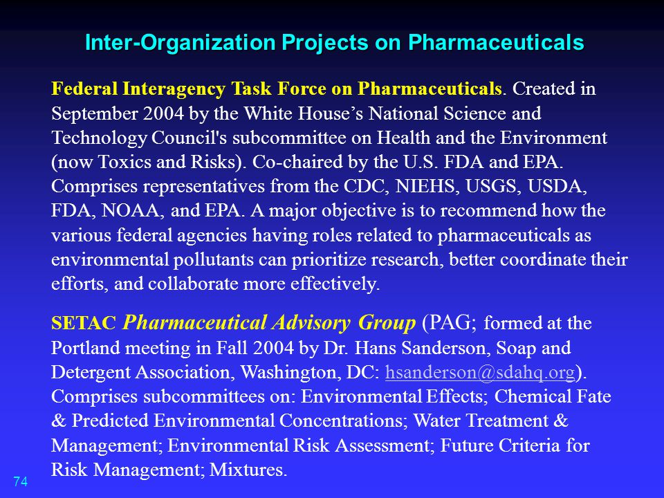 Inter-Organization Projects on Pharmaceuticals
