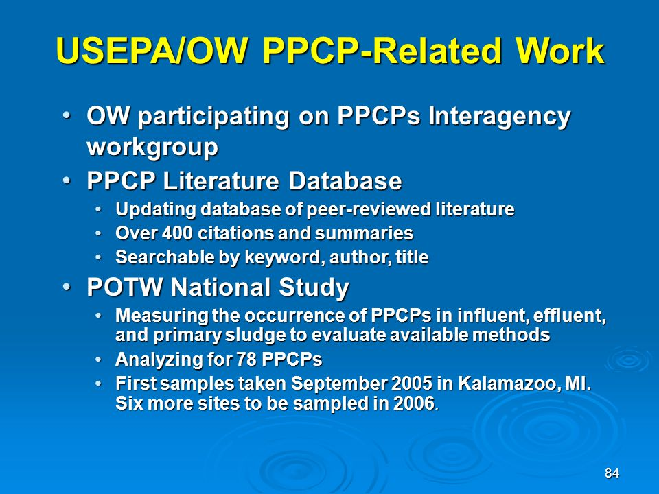 USEPA/OW PPCP-Related Work