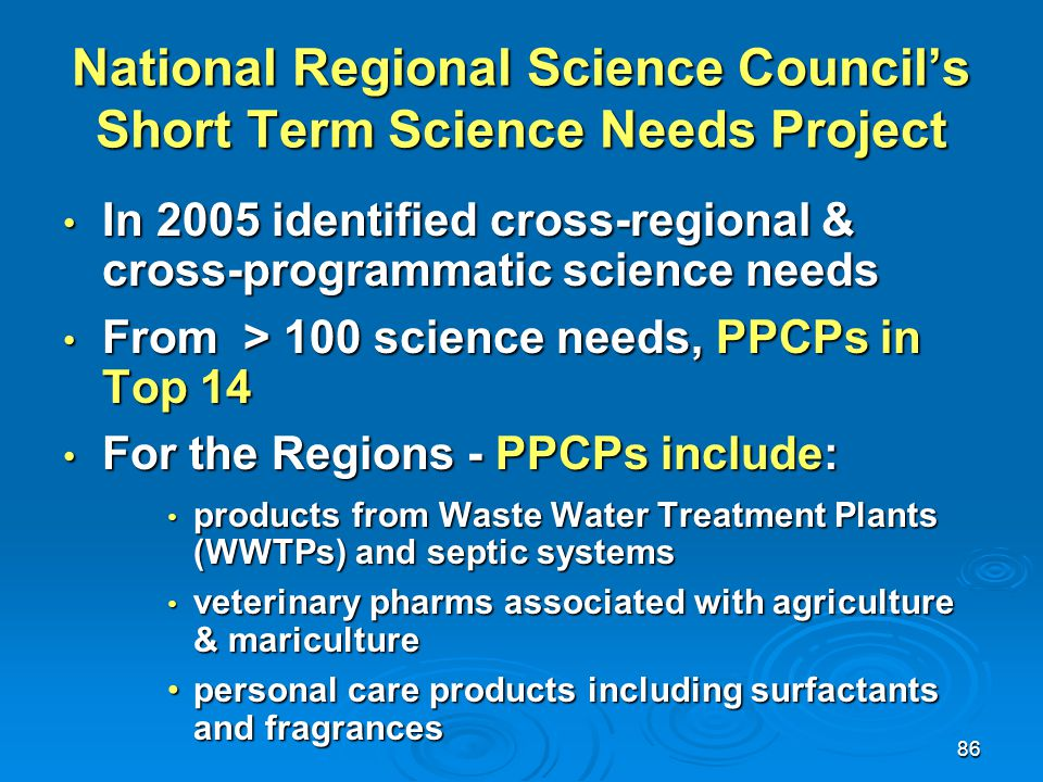 National Regional Science Council's Short Term Science Needs Project