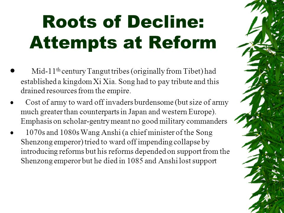 Roots of Decline: Attempts at Reform
