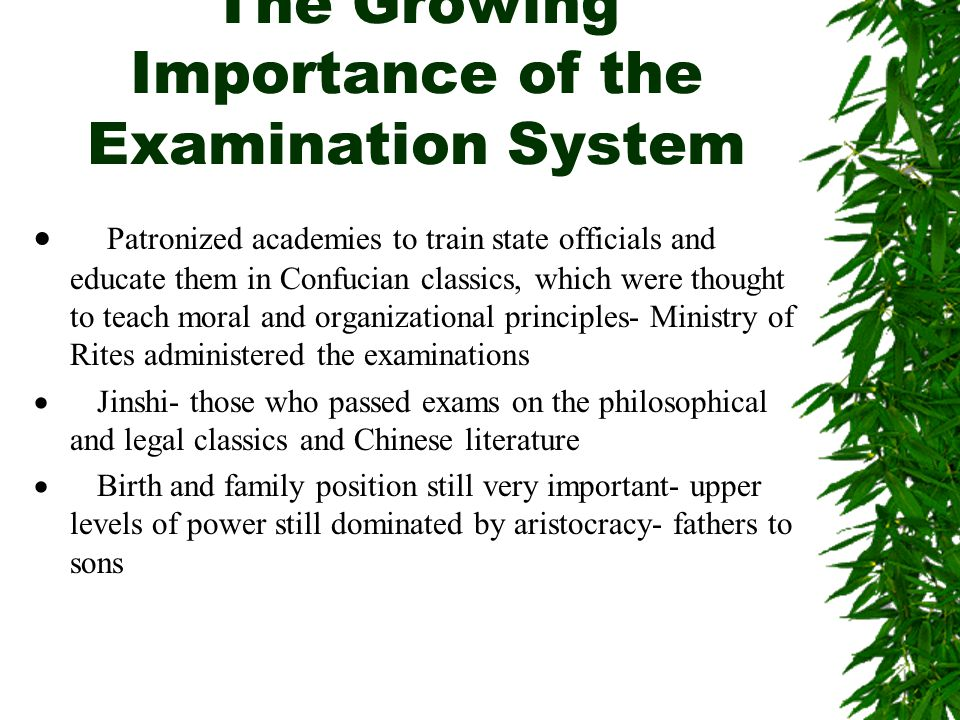 The Growing Importance of the Examination System