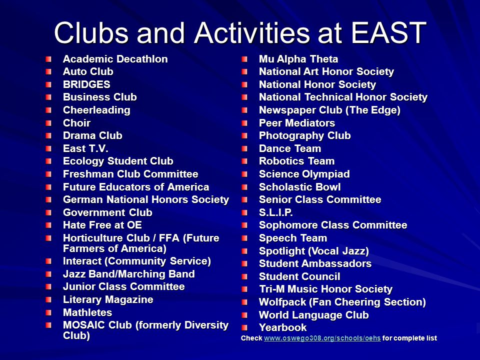 Clubs and Activities at EAST