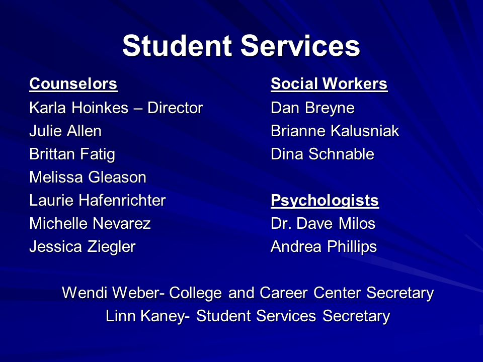 Student Services Counselors Social Workers