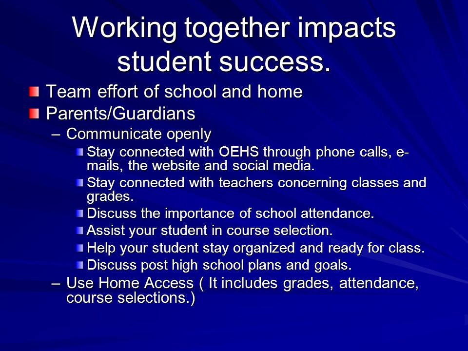 Working together impacts student success.