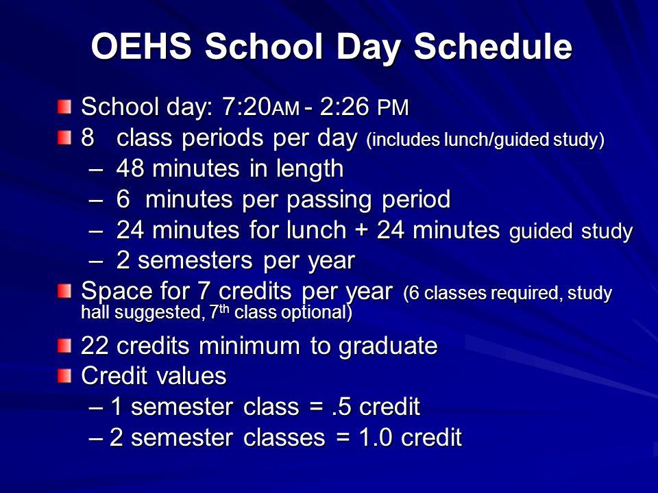 OEHS School Day Schedule