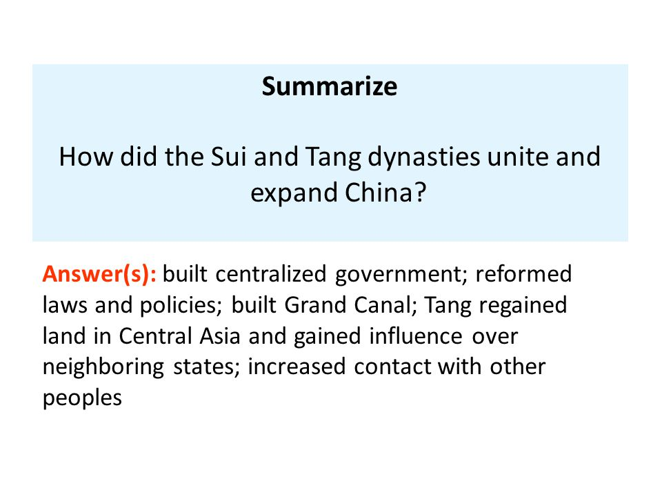 How did the Sui and Tang dynasties unite and expand China
