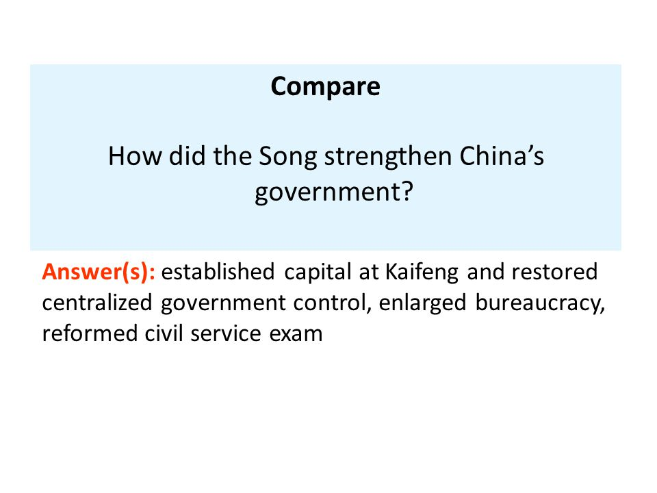 How did the Song strengthen China's government