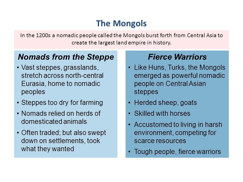 The Mongols Nomads from the Steppe Fierce Warriors