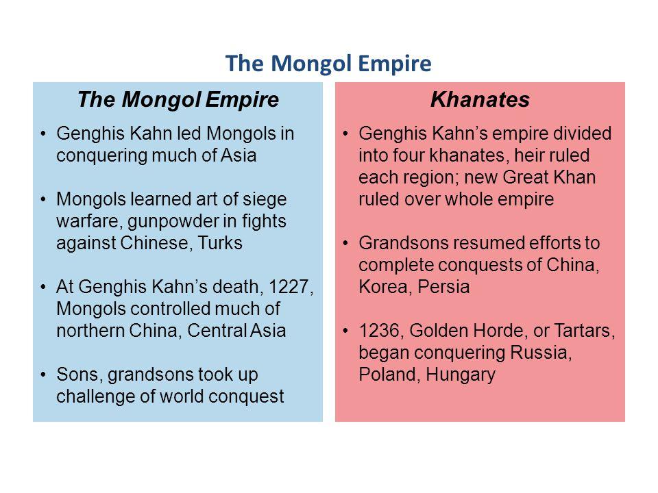The Mongol Empire The Mongol Empire Khanates