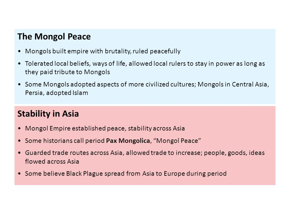 The Mongol Peace Stability in Asia