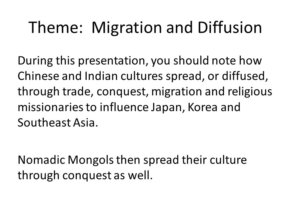 Theme: Migration and Diffusion