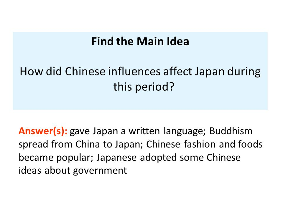 How did Chinese influences affect Japan during this period