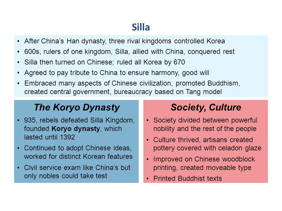 Silla The Koryo Dynasty Society, Culture