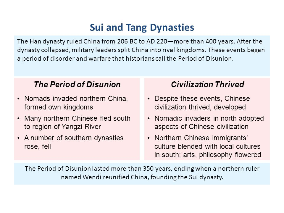 Sui and Tang Dynasties The Period of Disunion Civilization Thrived