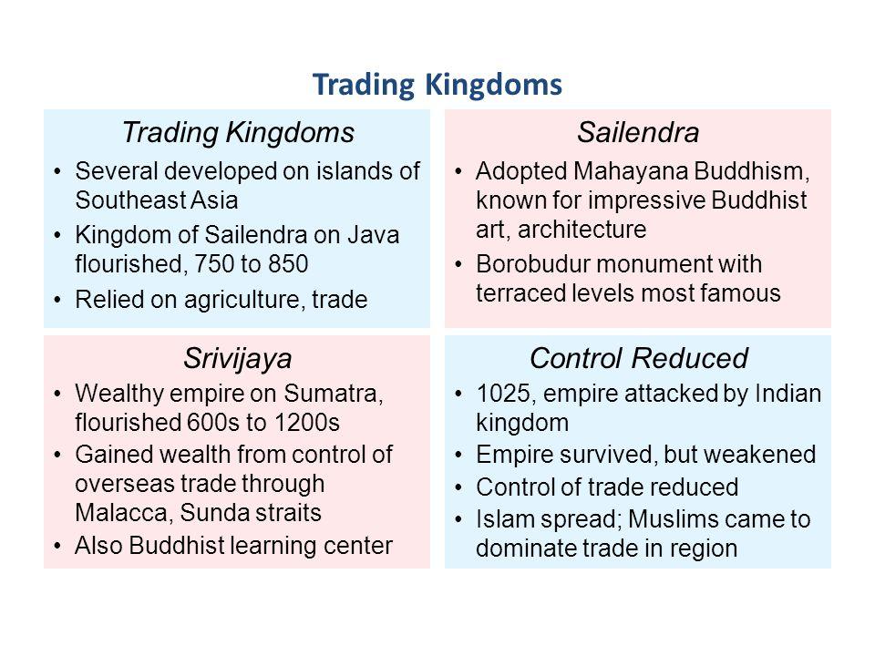 Trading Kingdoms Trading Kingdoms Sailendra Srivijaya Control Reduced