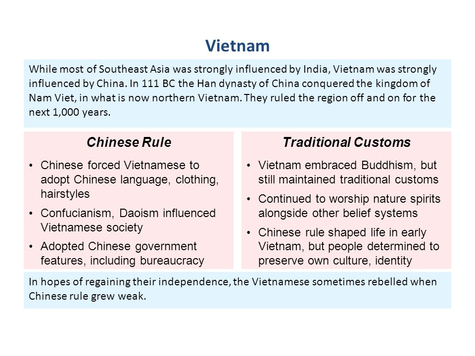 Vietnam Chinese Rule Traditional Customs
