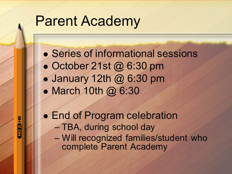 Parent Academy Series of informational sessions October 21st @ 6:30 pm