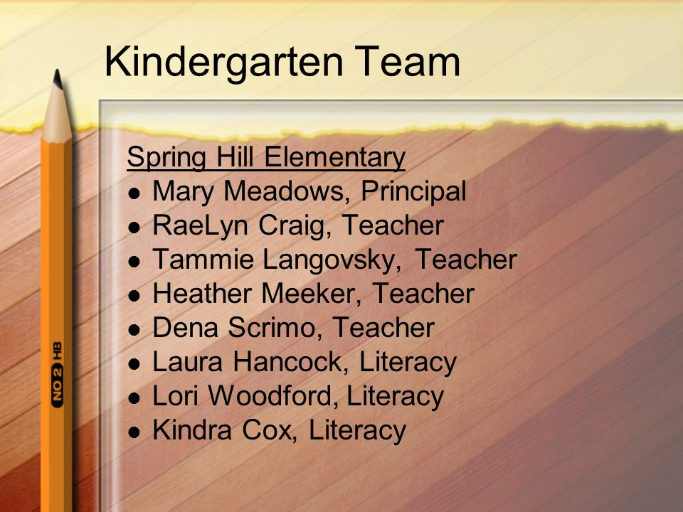 Kindergarten Team Spring Hill Elementary Mary Meadows, Principal