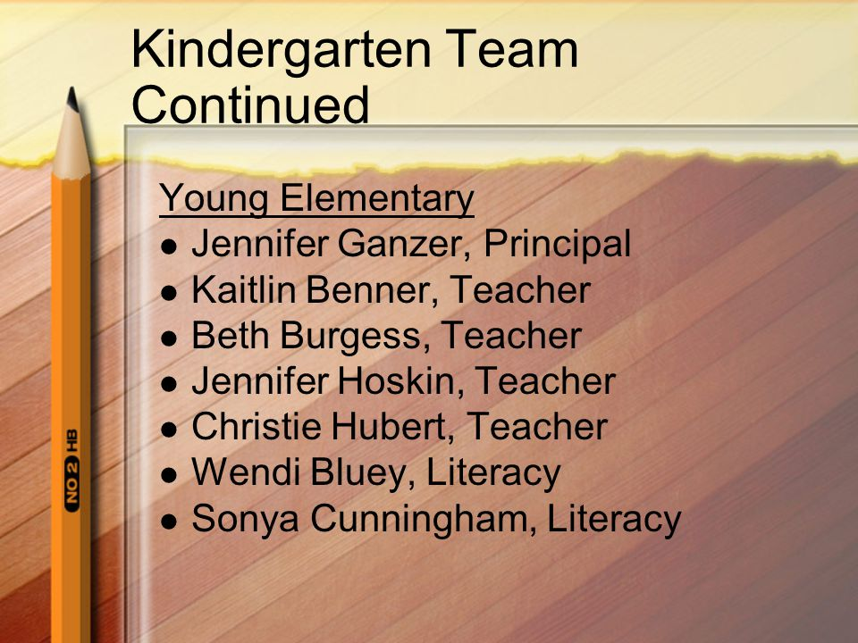 Kindergarten Team Continued
