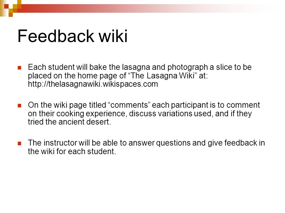 Feedback wiki