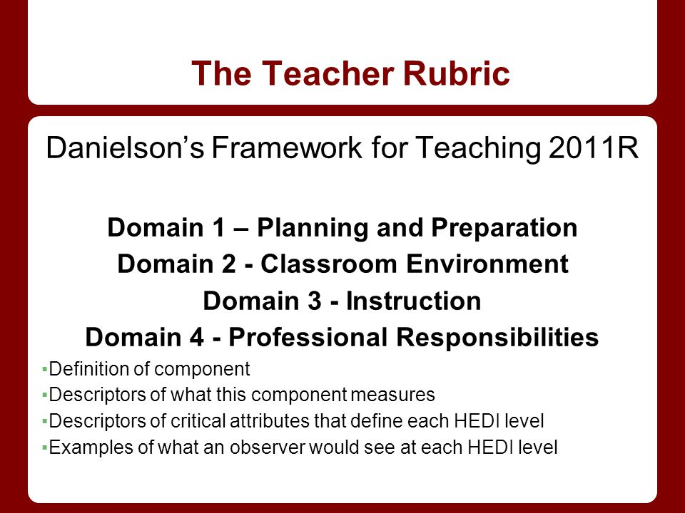 The Teacher Rubric Danielson's Framework for Teaching 2011R