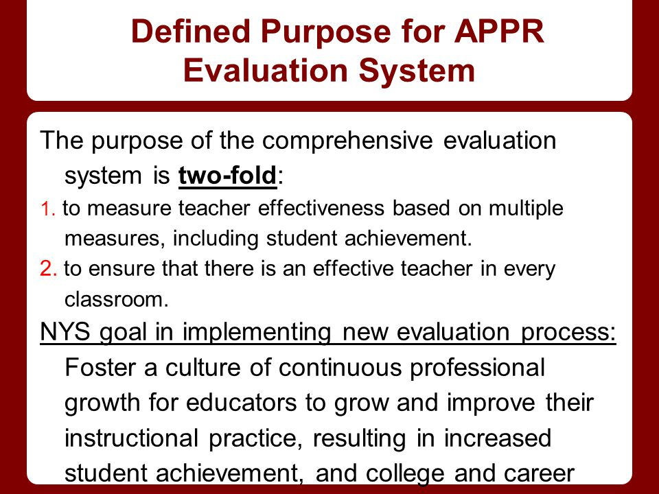 Defined Purpose for APPR Evaluation System