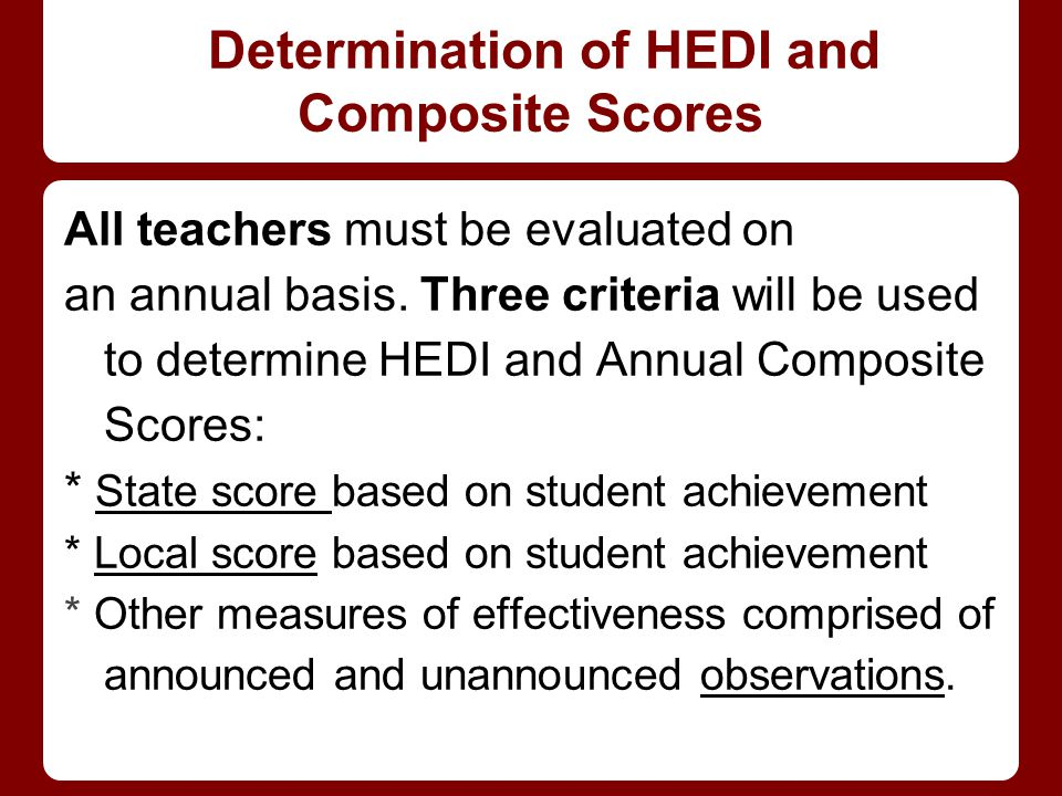 Determination of HEDI and Composite Scores
